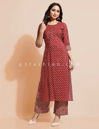 Printed maroon cottoon palazzo suit
