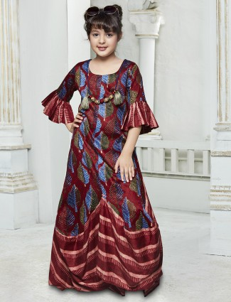Printed maroon silk gown
