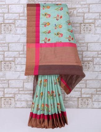 Printed mint green cotton silk saree