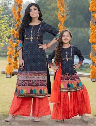 Printed navy blue mother daughter matching punjabi Salwar Suit in cotton