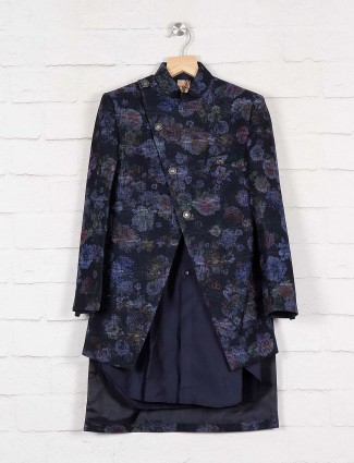 Printed navy color terry rayon indo western