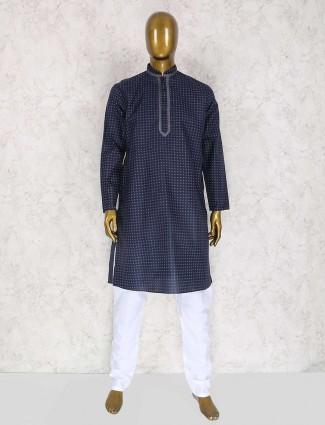 Printed navy cotton kurta suit