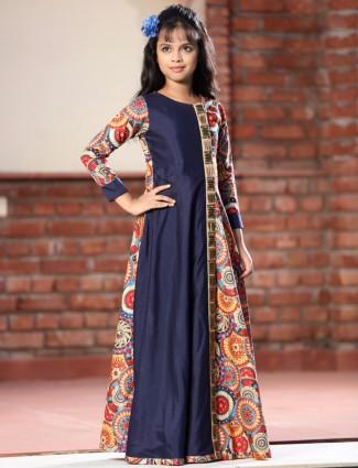 Printed navy silk festive wear salwar suit