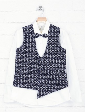 Printed navy terry rayon waistcoat for boys
