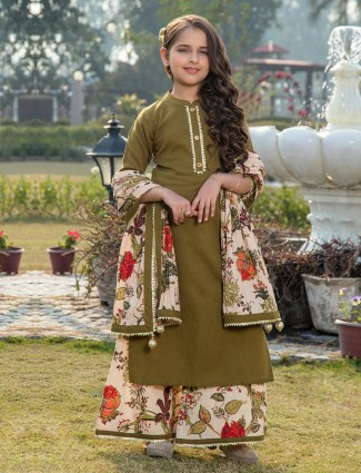 Printed olive cotton chinese neck palazzo suit
