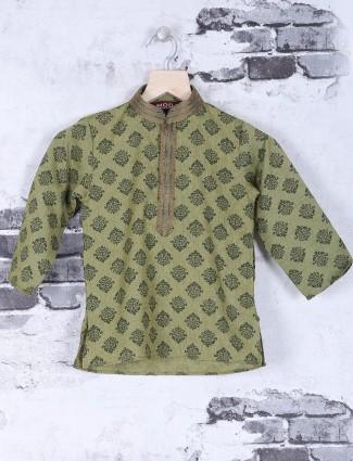 Printed olive festive wear kurta suit