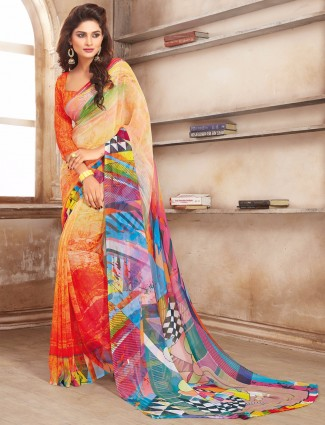 Printed orange classy casual wear saree