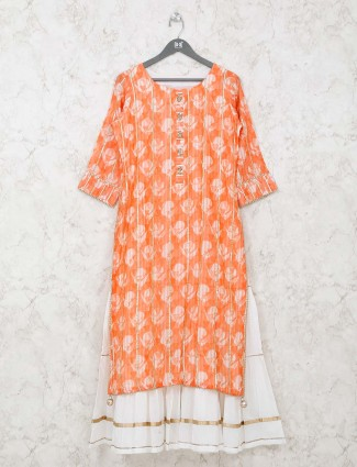 Printed orange cotton festive wear kurti