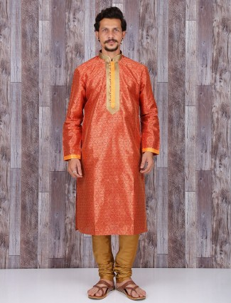 Printed orange cotton silk kurta suit