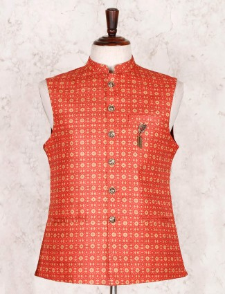 Printed orange cotton silk waistcoat