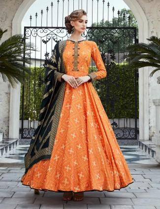 Printed orange floor length anarkali salwar suit in cotton silk