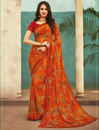 Printed Orange georgette saree for festives