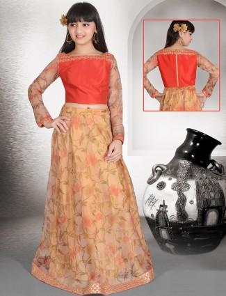 Printed orange silk fabric lehenga choli