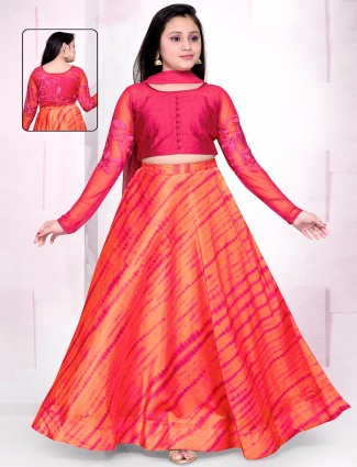 Printed orange silk lehenga choli
