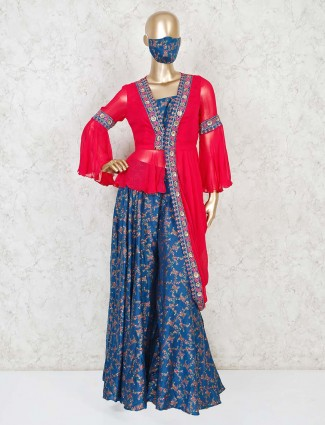 Printed palazzo suit in cotton silk with dupatta