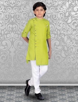 Printed parrot green full buttoned kurta suit