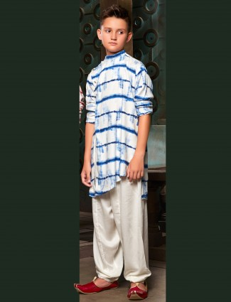 Printed pattern blue and white pathani suit