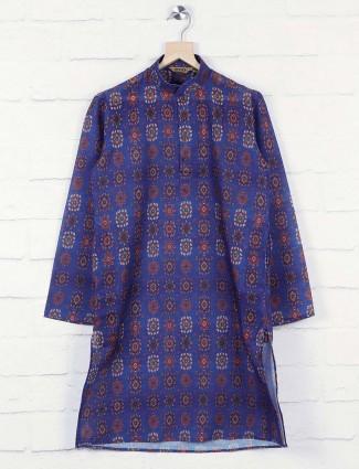 Printed pattern blue hued kurta suit