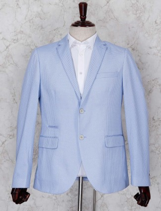 Printed pattern sky blue terry rayon blazer