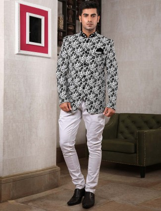 Printed pattern white colored party jodhpuri suit