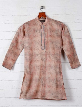 Printed peach cotton kurta suit