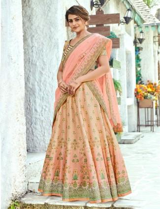 Printed peach semi stitched wedding lehenga choli design in silk
