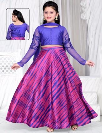 Printed pink blue silk lehenga choli
