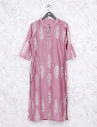 Printed pink color pretty kurti