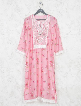 Printed pink cotton festive wear kurti