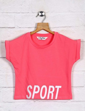 Printed pink cotton girls top