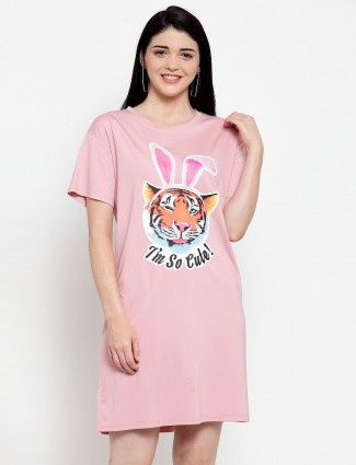 Printed pink cotton long top