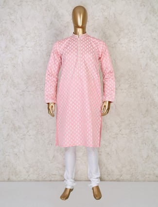 Printed pink cotton mens kurta suit