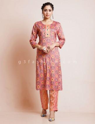 Printed pink cotton punjabi pant suit