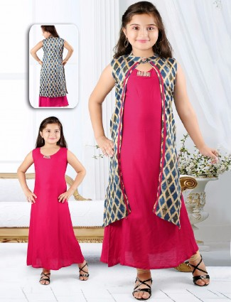 Printed pink cotton two piece salwar suit