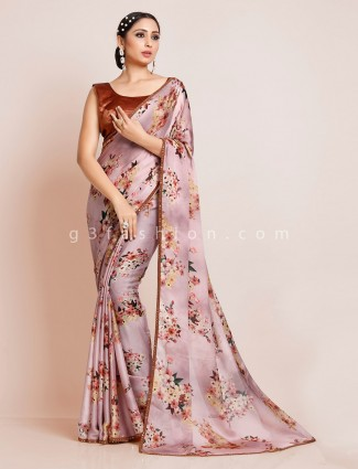 Printed pink georgette saree with readymade blouse