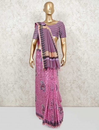 Printed pink saree in cotton