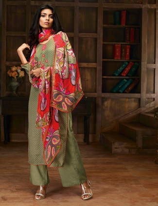 Printed pista green cotton palazzo suit
