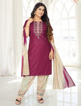 Printed purple punjabi salwar suit in cotton