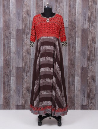 Printed red and brown cotton kurti