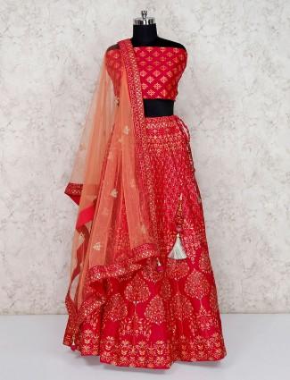 Printed semi stitched red bridal lehenga choli in silk