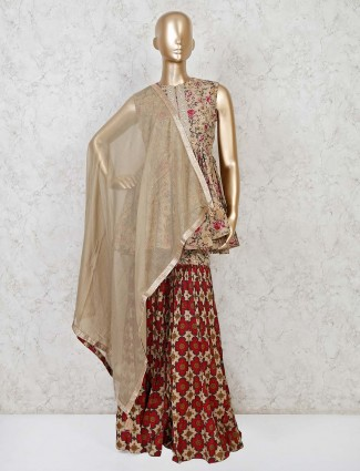 Printed sharara suit in cotton for parties
