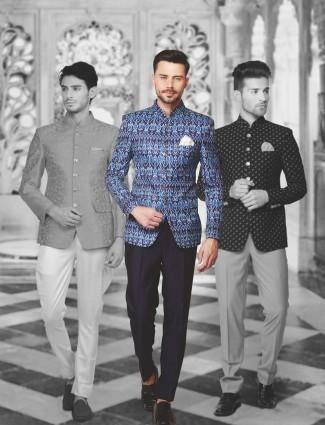 Printed silk royal blue jodhpuri suit