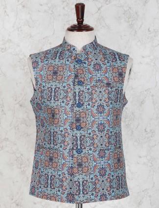 Printed sky blue color terry rayon waistcoat