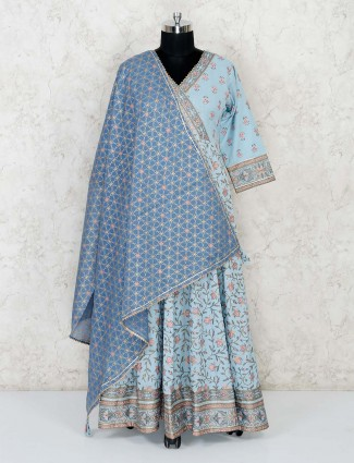 Printed sky blue cotton anarkali salwar suit
