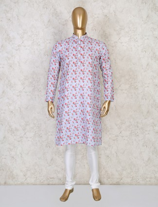 Printed sky blue cotton mens kurta suit