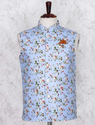 Printed sky blue linen fabric waistcoat