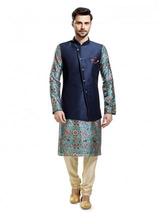 Printed sky blue navy silk waistcoat set