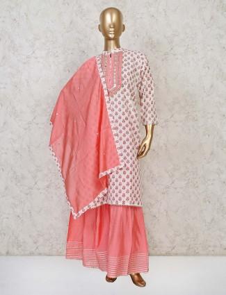Printed style cotton white punjabi sharara suit