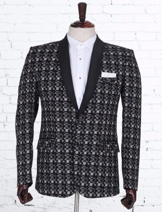 Printed stylish terry rayon black blazer