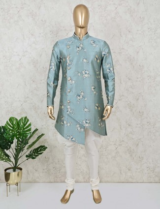 Printed teal green cotton silk indo western